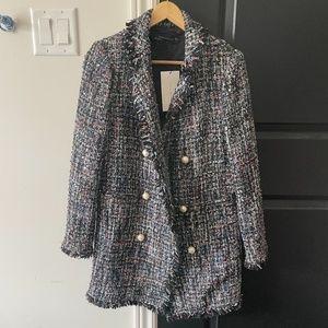 NWT Zara Tweed Mid Long Coat